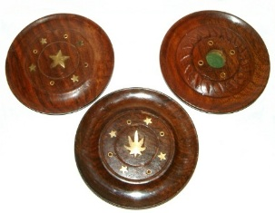 Round Wooden Incense Holder/Ash Catcher