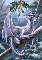 """Snow Dragon"" Anne Stokes Magic Yule Card"