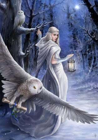 """Midnight Messenger"" Anne Stokes Magic Yule Card"