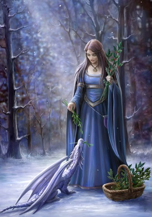 """Solstice Gathering"" Anne Stokes Magic Yule Card"