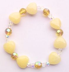 Yellow Calcite Heart Beads Bracelet