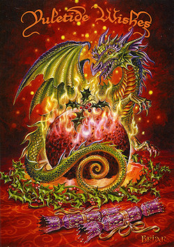 Flaming Dragon Pudding Briar Yule Card
