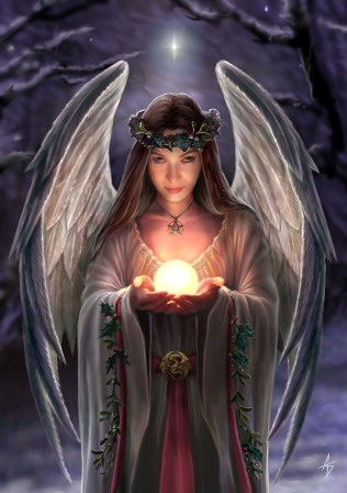 """Yuletide Angel"" Anne Stokes Magic Yule Card"